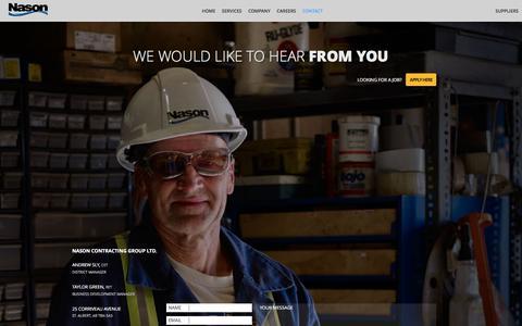 Screenshot of Contact Page nason.ca - Contact :: Nason Contracting Group Ltd - captured Jan. 29, 2016
