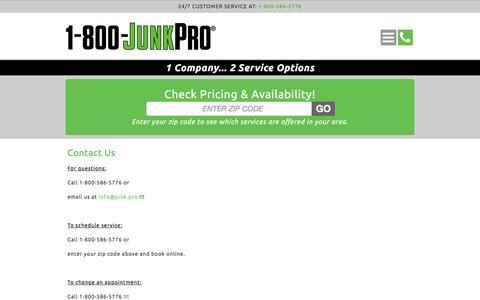 Screenshot of Pricing Page 1-800-junkpro.com - 1-800-JUNKPRO - Contact Us - captured June 28, 2017