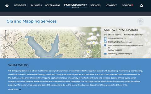 Screenshot of Maps & Directions Page fairfaxcounty.gov - Fairfax County GIS and Mapping Services Homepage | GIS and Mapping Services - captured Sept. 21, 2018