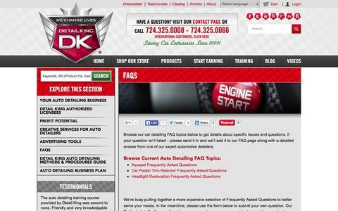 Screenshot of FAQ Page detailking.com - FAQs - Detail King - Detail King - captured Jan. 7, 2016