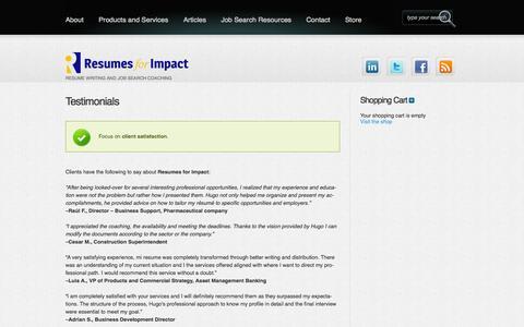 Screenshot of Testimonials Page resumesforimpact.com - Testimonials | Resumes for Impact - captured Oct. 8, 2014