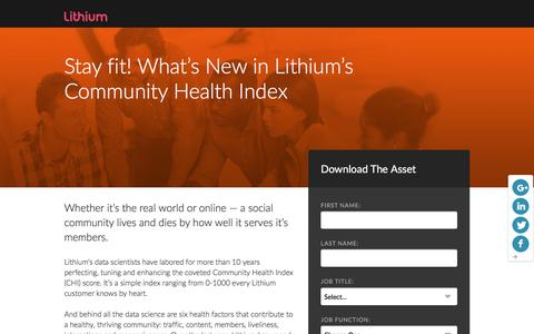 Screenshot of Landing Page lithium.com - Lithium's Community Health Index (CHI) | Lithium Resources - captured March 21, 2016