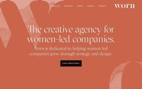 Screenshot of Home Page worn.nyc - Worn Digital Agency Led by Women in New York - captured Sept. 21, 2018