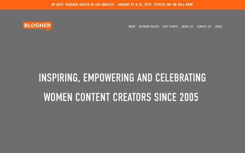 Screenshot of Login Page blogher.com - Blogger Conferences & Female Content Creators | BlogHer - captured Nov. 3, 2018