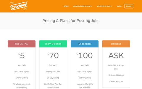 Screenshot of Pricing Page mycreativejob.co.uk - Discover our range of competitive prices and plans for posting job vacancies - captured Oct. 9, 2014