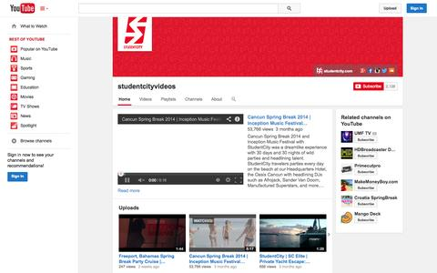 Screenshot of YouTube Page youtube.com - studentcityvideos  - YouTube - captured Nov. 1, 2014