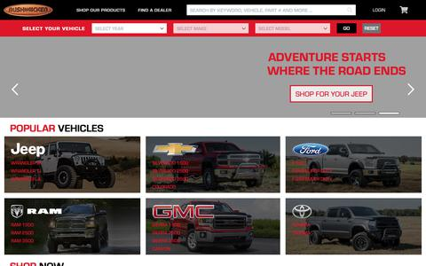 Screenshot of Home Page bushwacker.com - Bushwacker Fender Flares & Truck Bed Rail Caps - Get Ultimate Truck & Jeep Off Road Style & Protection - captured Nov. 13, 2018