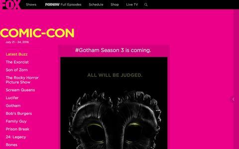 Screenshot of fox.com - Comic Con - TV Series News, Show Information - FOX - captured July 24, 2016