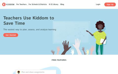 Screenshot of Signup Page kiddom.co - Teach | Kiddom Education Platform - captured Sept. 6, 2019