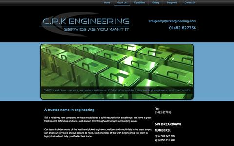 Screenshot of About Page crkengineering.com - About Us | Mechanical Engineering | Hull | CRK Engineering Ltd - captured July 9, 2016