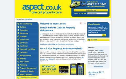 Screenshot of Home Page aspect.co.uk - London Plumbers and Property Maintenance Services | aspect.co.uk - captured Sept. 24, 2014