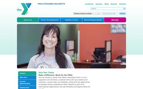 Screenshot of Jobs Page ymcacw.org - careers   YMCA of Columbia-Willamette - captured Sept. 19, 2014