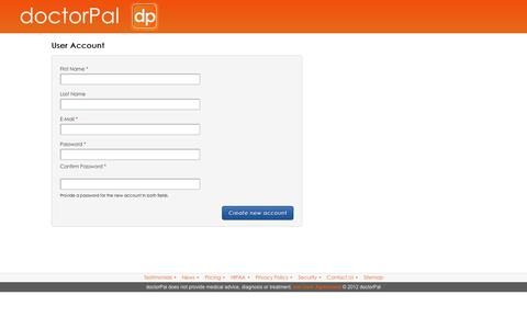 Screenshot of Signup Page doctorpal.net - Sign Up | doctorPal - captured Oct. 13, 2017