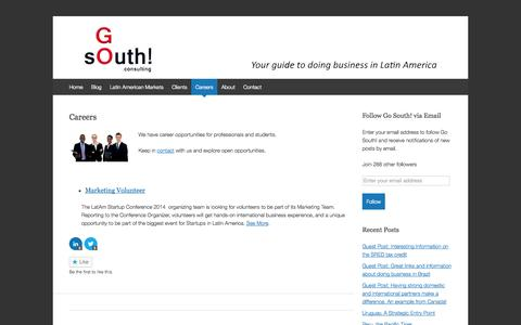 Screenshot of Jobs Page gosouthconsulting.com - Careers | Go South! Consulting - captured Oct. 2, 2014