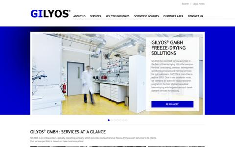 Screenshot of Home Page gilyos.com - GILYOS GmbH - contract service provider in the field of freeze-drying - captured Oct. 1, 2014