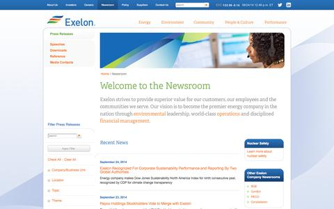 Screenshot of Press Page exeloncorp.com - Exelon Corporation: Press Releases - captured Sept. 24, 2014