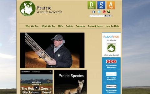Screenshot of Home Page prairiewildlife.org - Prairie Wildlife Research: Home - captured Oct. 2, 2014