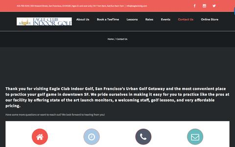 Screenshot of Contact Page eagleclubig.com - Driving Range, Golf Instruction & Lessons, San Francisco Golf Course | Contact - captured Oct. 19, 2016