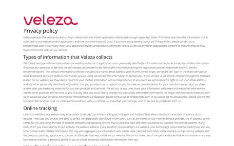 Privacy Policy - Veleza