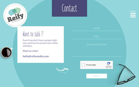Screenshot of Contact Page reifymedia.com - Contact – Reify Media - captured Sept. 25, 2018
