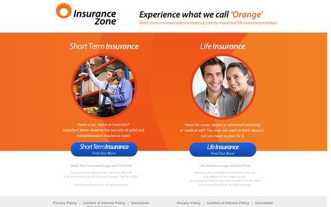 Screenshot of Home Page insurancezone.co.za - Insurance Zone | Experience what we call 'Orange' - captured Jan. 21, 2015