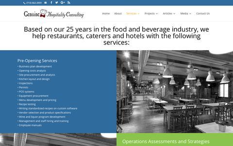 Screenshot of Services Page genuinehc.com - Services - Genuine Hospitality Consulting - captured Sept. 27, 2018