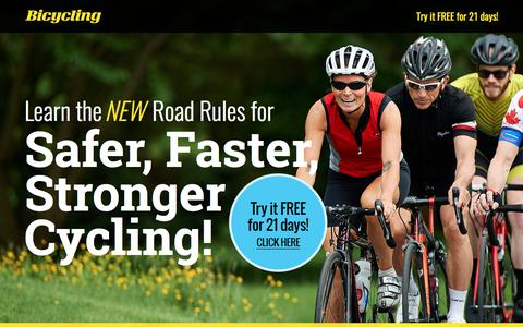 Screenshot of Landing Page bicycling.com - Complete Book of Road Cycling Skills - captured July 12, 2017