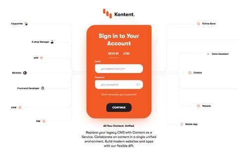 Screenshot of Login Page kontent.ai - Sign in | Kentico Kontent - captured Feb. 24, 2020
