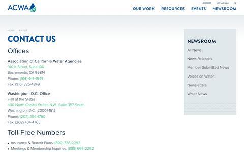 Screenshot of Contact Page acwa.com - Contact Us - Association of California Water Agencies - captured Oct. 9, 2017