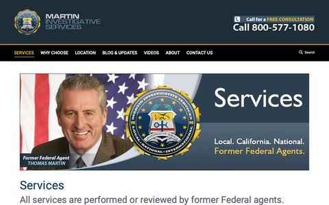 Screenshot of Services Page martinpi.com - Services - Martin Investigative Services - captured Oct. 17, 2018