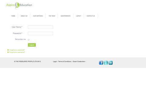 Screenshot of Login Page aspire-education.org - Login - captured Sept. 30, 2014