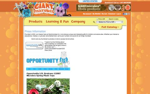 Screenshot of Press Page giantmicrobes.com - About GIANT Microbes - captured Nov. 2, 2014