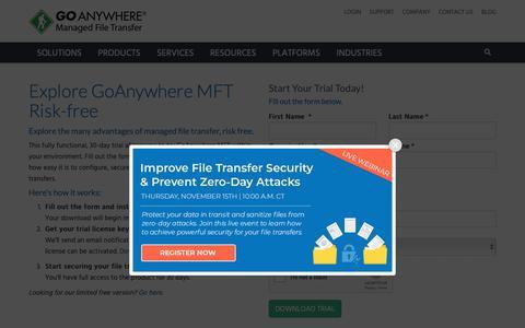 Screenshot of Trial Page goanywhere.com - Customer Portal Registration | GoAnywhere MFT - captured Nov. 8, 2018