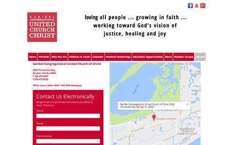 Screenshot of Contact Page sanibelucc.org - Sanibel Congregational UCC - Contact Us - captured Nov. 19, 2016
