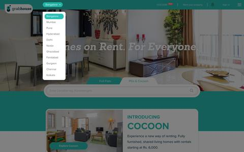 Screenshot of Home Page grabhouse.com - Flats,PG,House for rent without broker | Grabhouse - captured March 28, 2016