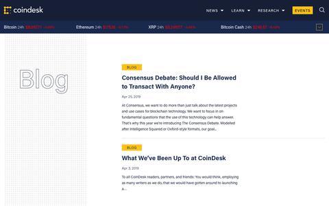 Screenshot of Blog coindesk.com - Blog - Coindesk - captured Nov. 19, 2019