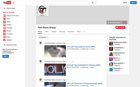 Screenshot of YouTube Page youtube.com - Tom Paine Group  - YouTube - captured Oct. 26, 2014