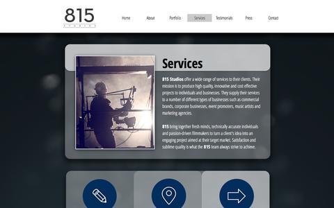 Screenshot of Services Page 815studios.com - 815 Studios | Services - captured Aug. 17, 2016