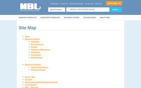 Screenshot of Site Map Page mblintl.com - Site Map | MBL - captured Nov. 17, 2016