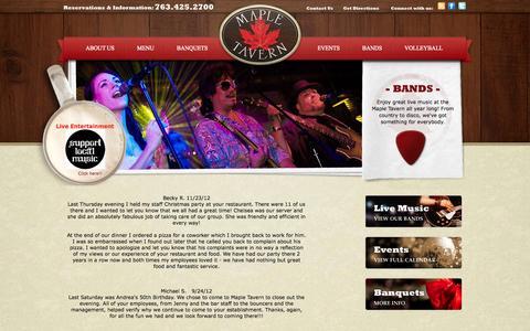 Screenshot of Testimonials Page mapletavern.com - Maple Tavern :: Testimonials - captured Oct. 27, 2014