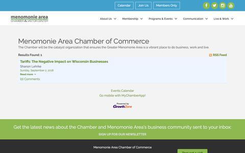Screenshot of Blog menomoniechamber.org - Menomonie Area Chamber of Commerce - Menomonie Area Chamber of Commerce - captured Sept. 30, 2018