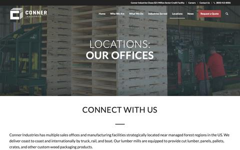Screenshot of Locations Page connerindustries.com - Our Offices | Conner Industries - captured Sept. 29, 2018