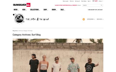 Screenshot of Blog quiksilver.com - Quiksilver Official Blog - News, Events & Media Surf | Quiksilver - captured Sept. 18, 2014