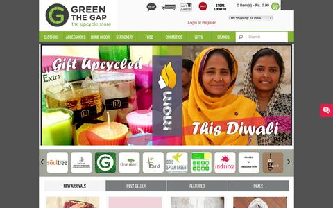 Screenshot of Home Page greenthegap.com - Buy Upcycled, Recycled, Eco Friendly, Green Products Online from India - Green Store  :: Green The Gap - the upcycle store : : Green The Gap - captured Jan. 27, 2015