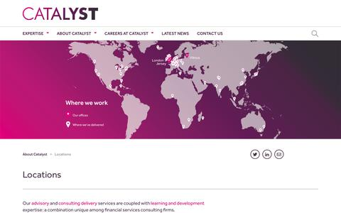 Screenshot of Locations Page catalyst.co.uk - Catalyst financial services specialists global locations - captured Sept. 20, 2018