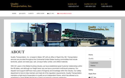 Screenshot of About Page quality-transportation.com - About | quality transportation - captured April 25, 2017