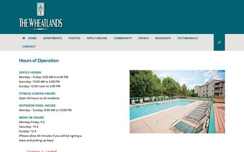 Screenshot of Hours Page thewheatlands.com - Hours of Operation - The Wheatlands Apartments Chicago Illinois - captured Oct. 25, 2018