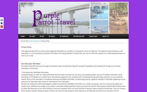 Screenshot of Privacy Page purpleparrottravel.com - Privacy Policy - Purple Parrot Travel - captured Oct. 27, 2014