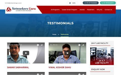 Screenshot of Testimonials Page networkersguru.com - Testimonials-Networkers Guru Cisco Certification Courses - captured July 13, 2018