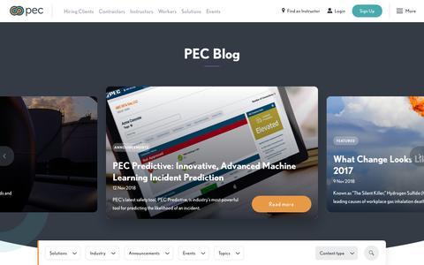 Screenshot of Blog pecsafety.com - Blog | PEC - captured March 9, 2019
